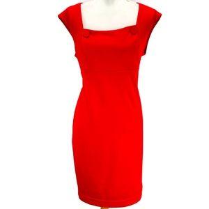 Calvin Klein Sheath Dress Square Neck Button Red